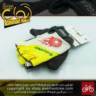 دستکش دوچرخه سواری رالی گروپ طرح جاینت مدل لژی لیمویی 4010 Rally Group Bicycle Gloves Giant Logo Legea Lemon