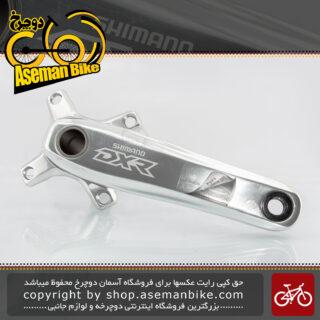 ست توپی تنه و طبق قامه دوچرخه شیمانو ژاپن مدل دی ایکس آر هالوتک ام ایکس 70 SHIMANO Bicycle Crankset DXR Hollowtech MX70 Silver