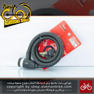قفل ایمنی دوچرخه تی جی آر وان کلید دار مشکی مدل 8001 قطر 12 طول 1200 میلیمتر TGR1 Bicycle Safe Lock 8001