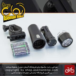 چراغ جلو دوچرخه برند اوکی مدل ایکس سی 100 دارای 5 سوپر ال ای دی سفید Bicycle Head Light 5 Super Bright White LED XC - 100