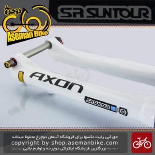"""دوشاخ دوچرخه کوهستان برند اس آر سانتور مدل آکسون الیت سایز 27.5 با بازی 100 میلیمتری SR Suntour Fork Axon Elite 27.5"""" Tapered 100mm DS RL RC PCS 5Q1 C2 TI GTS YS701"""