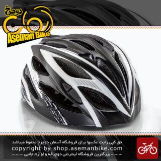 کلاه ایمنی دوچرخه سواری برند مون مدل ام 10 چراغ دار رنگ مشکی سفید سایز 53 الی 62 سانتی متر Helmet Bicycle Moon M10 Black