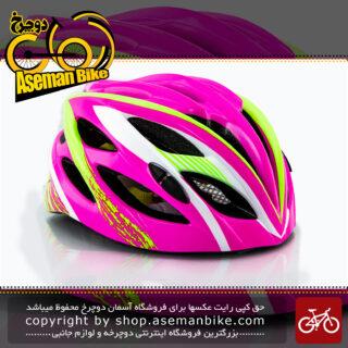 کلاه ایمنی دوچرخه سواری برند مون مدل ام 10 چراغ دار رنگ صورتی سبزسایز 53 الی 62 سانتی متر Helmet Bicycle Moon M10 pink green