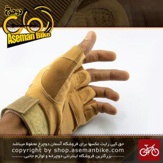 دستکش نیم پنجه ورزشی دوچرخه سواری کمپینگ اوکلی مدل او سیکس عسلی OAKLEY Safe Cycling Camping Glove O6 Honey-like
