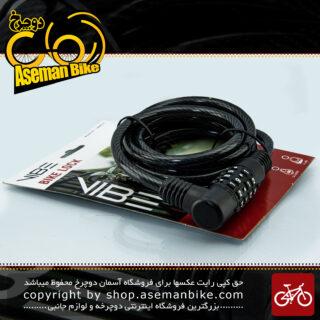قفل کابلی رمزی دوچرخه مدل وایب ضد سرقت مشکی سایز 8 در 180 میلیمتر VIBE Lock Security Cable Lock