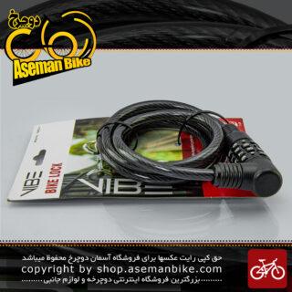 قفل کابلی رمزی دوچرخه برند وایب مدل 1000c2-1 ضد سرقت مشکی سایز 8 در 190میلیمتر VIBE Lock Security Cable Lock Model 1000C2-1 8*190