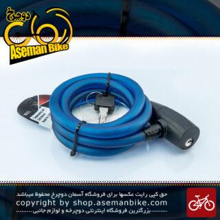قفل کابلی سیم بکسلی کلیدی دوچرخه برند وایب مدل 1000C16 سایز 12 با طول 1500میلیمتر آبی Cable Lock Bicycle Brand VIBE Size 12x1500mm Model 1000C16 Blue