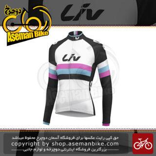 لباس دوچرخه سواری زنانه بانوان تی شرت آستین بلند زیپ دار جاینت مدل ترمال مشکی سفید صورتی اسمال / مدیوم Bicycle Giant Liv Race Day Long Sleeve Thermal Jersey SM