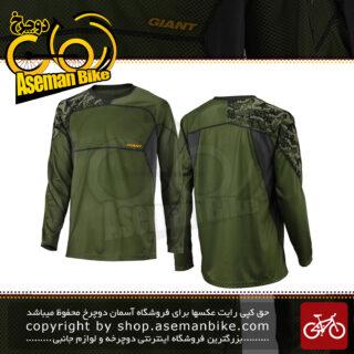 لباس دوچرخه سواری تی شرت برند جاینت مدل ریلم آستین بلند سبز سایز ایکس ایکس لارج Bicycle Giant Realm Long Sleeve Jersey Green 2XL