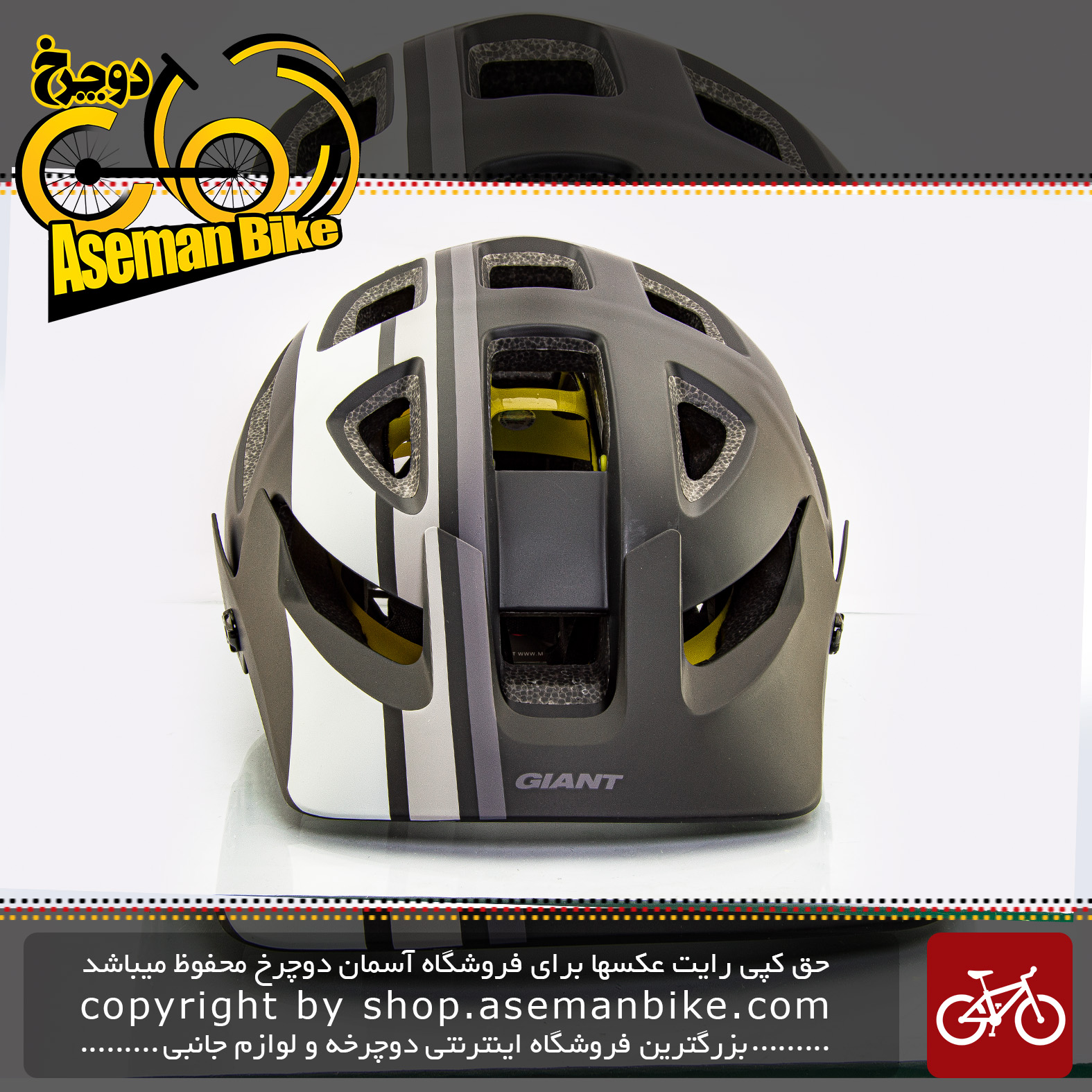 کلاه دوچرخه سواری جاینت مدل ریل میپس مشکی-خاکستری سایز 59-55 Giant Bicycle Helmet Rail Mips Black/Grey size 55-59