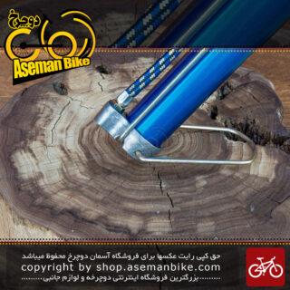 تلمبه زمینی بادپا ساخت ایران فلزی با دسته چوبی رنگ آبی بزرگ Iranian Floor Pump Badpa Large