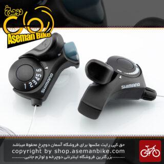 دسته دنده دوچرخه کوهستان/شهری شیمانو مدل تی ایکس سی سیس ایندکس سیستم 6 در 3 سرعته مشکی Shimano Bicycle Shifter SIS Index System TX30