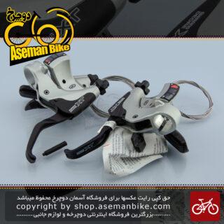 دسته دنده و دسته ترمز یکپارچه شیمانو مدل ایکس تی اس تی ام 750 3 در 9 سرعته ساخت ژاپن Shimano Shifter And Brake Lever Bicycle XT ST-M750 3×9 Speed Japan
