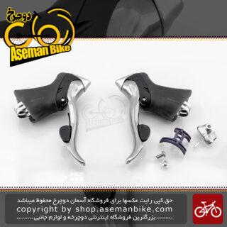 ست دسته دنده و ترمز کتی دوچرخه شیمانو سری 105 مدل اس تی 5500 سازگار با کامپیوتر/کیلومتر شمار شیمانو فلایت دک Shimano On-road Bicycle Shifter 105 ST5500 Flight-Deck
