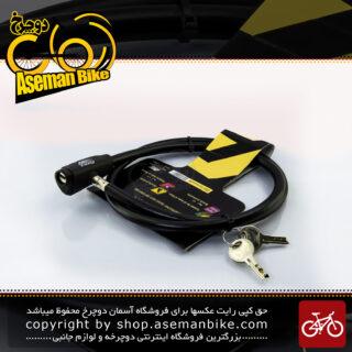 قفل کابلی سیم بکسلی کلیدی دوچرخه برند انرژی مدل BBE0006 قطر 10 میلیمتر با طول 900 میلی متر مشکی Cable Lock Bicycle Brand ENERGI Size 900x10mm Model BBE0006 Black