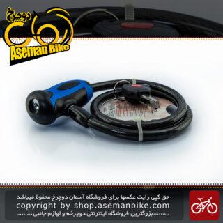قفل کابلی سیم بکسلی کلیدی دوچرخه برند اوکی مدل 354T سایز 10 با طول650 میلیمتر مشکی-آبی Cable Lock Bicycle Brand OK Size 10x1560mm Model 354T Black-Blue