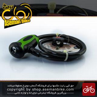 قفل کابلی سیم بکسلی کلیدی دوچرخه برند اوکی مدل 354T سایز 10 با طول650 میلیمتر مشکی-سبز Cable Lock Bicycle Brand OK Size 10x1560mm Model 354T Black-Green