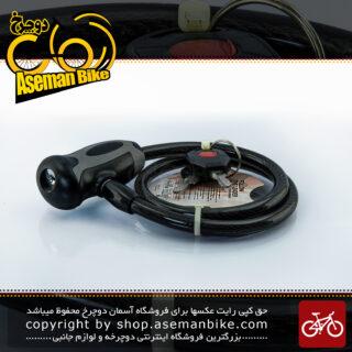 قفل کابلی سیم بکسلی کلیدی دوچرخه برند اوکی مدل 354T سایز 10 با طول650 میلیمتر مشکی-خاکستری Cable Lock Bicycle Brand OK Size 10x1560mm Model 354T Black-Gry