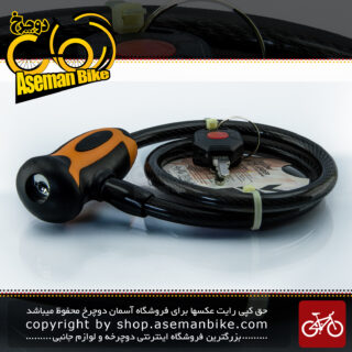 قفل کابلی سیم بکسلی کلیدی دوچرخه برند اوکی مدل 354T سایز 10 با طول650 میلیمتر مشکی-نارنجی Cable Lock Bicycle Brand OK Size 10x1560mm Model 354T Black-Orange
