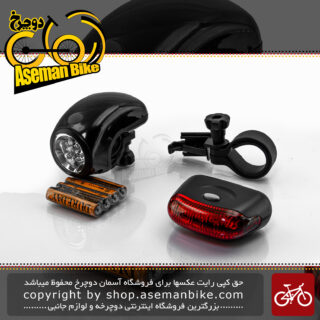 چراغ جلو و عقب دوچرخه برند اوکی مدل ایکس سی 123305 مشکی Ok Bicycle Head And Tail Light XC-123305 Black