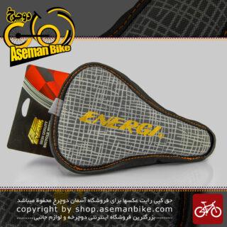 روکش زین دوچرخه چرمی دور دوخت تنظیمی برند انرژی طوسی Energi Leather Gray Bicycle Saddle Cover
