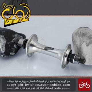 توپی جلو دوچرخه شیمانو سری اکسیج مدل آر ام 50 نقره ای 18 سوراخ ساخت ژاپن Shimano Bicycle Front Hub Exage RM50 Silver 18H Japan