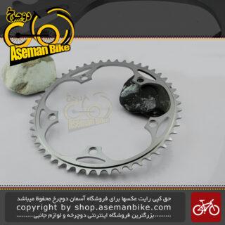 سینی طبق دوچرخه کورسی جاده شیمانو سری دورا ایس مدل اف سی 7710 نقره ای کروم 50 دندانه ساخت ژاپن Shimano Onroad Bicycle Chain-ring Dura Ace FC-7710 50T Japan