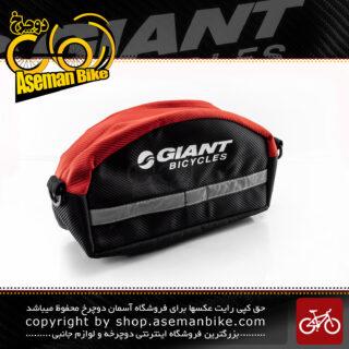 کیف جلو فرمان دوچرخه با قابلیت استفاده به صورت کیف کمری مدل جاینت مشکی-قرمز GIANT Bike Handlebar Bag Black-Red