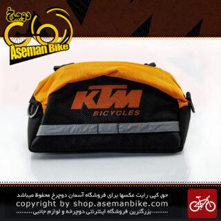 کیف جلو فرمان دوچرخه با قابلیت استفاده به صورت کیف کمری مدل کی تی ام مشکی-نارنجی KTM Bike Handlebar Bag Black-Orange