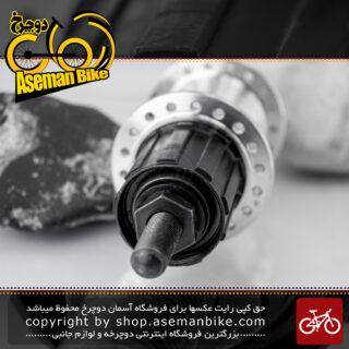 توپی عقب دوچرخه شیمانو مدل آی ام 45 نقره ای 18 سوراخ ساخت ژاپن Shimano Bicycle Rear Hub IM45 Silver 18H Japan