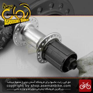 توپی چرخ عقب دوچرخه شیمانو مدل ام ام 13 نقره ای 18 سوراخ Shimano Bicycle Rear Hub MM13 Silver 18H