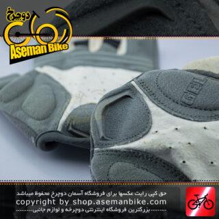 دستکش دوچرخه سواری ورزشی اسپید ژل دار مدل نیمه رنگ سفید/خاکستری تیره Speed Cycling Glove Half Gel White/Dark Gray