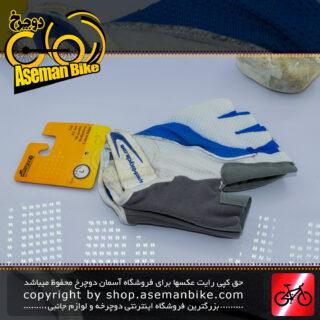 دستکش دوچرخه سواری ورزشی اسپید سایکلینگ ژل دار مدل نیمه رنگ سفید/خاکستری Speed Cycling Glove Gel White/Gray
