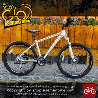 دوچرخه کوهستان کافیدیس مدل 6200 پرو سایز 26 با سیستم دنده ی 24 سرعته شیمانو رنگ سفید طلایی Cofidis MTB Bicycle Model No.6200 Pro Size 26 24 Speed White Gold
