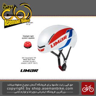 کلاه ایمنی دوچرخه برند لیمار تری اتلون/کورسی جاده مدل 007 سوپر سبک وزن سایز یکسان رنگ سفید/آبی/قرمز طراحی ایتالیا Limar Athlon Bicycle Helmet 007 Superlight L 54-61cm Uni-size White/Blue/Red Italy