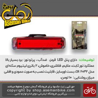 چراغ عقب دوچرخه اوکی با لامپ ال ای دی 10 لومن باطری لیتیومی سکه ای ضد آب مدل 1000625 OK Bicycle Rear Light LED 10 Lumen Lithium-Ion Waterproof 1000625