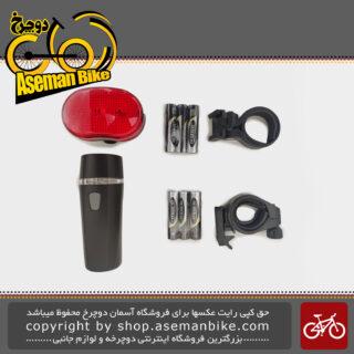 مجموعه ست چراغ جلو و عقب باتری دوچرخه اکس سی 100305 Bicycle Light set Head light And Tail light XC-100305