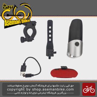 مجموعه ست چراغ جلو و عقب شارژی دوچرخه اکس سی 215181 Bicycle Light SET Head light and Rear Light XC-215181