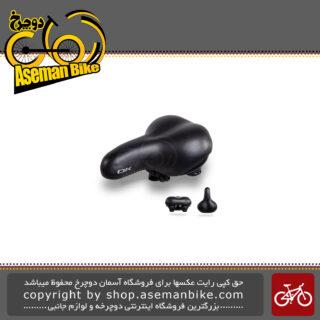زین دوچرخه اوکی پهن طبی پیستون دار سایز 26 رنگ مشکی مدل انزو کد 2610822 OK Bicycle Saddle Ergonomic Wide Enzo Size 26 Black 2610822