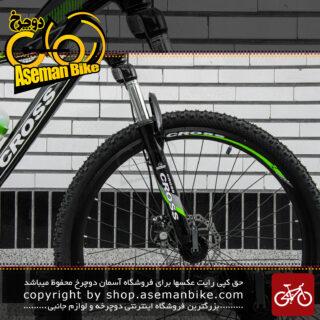 دوچرخه کوهستان برند کراس مدل جنیوس سایز 27.5 رنگ مشکی و سبز با سیستم دنده 21 سرعته MTB Bicycle Cross Genius Size 27.5 21 Speed Black & Green