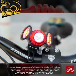چراغ جلو دوچرخه شارژی هد لایت با قلبلیت زوم مدل EBT1S سفید قرمز CRUCIAL Bicycle Head Light Rechargeable RED White EBT1S