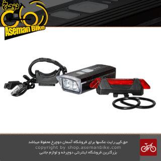 مجموعه ست چراغ جلو و عقب شارژی دوچرخه وای کیو 1688 BICYCLE LIGHT SET HEAD LIGHT AND TAIL LIGHT